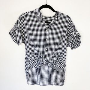 Uniqlo Gingham Tie Front Shirt